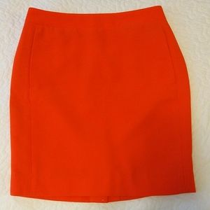 J. Crew Orange Pencil Skirt with Pockets